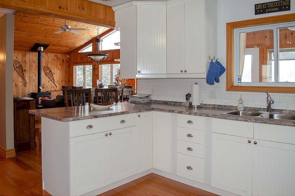 Kitchen prep area and open concept to dining & family room