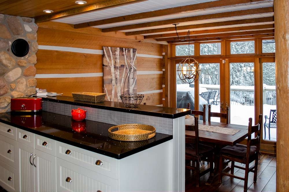 Kitchen Prep & Dining areas with view of the lake
