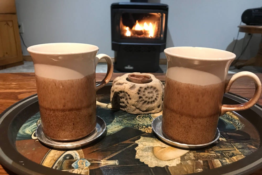 Coffee by the Fireplace