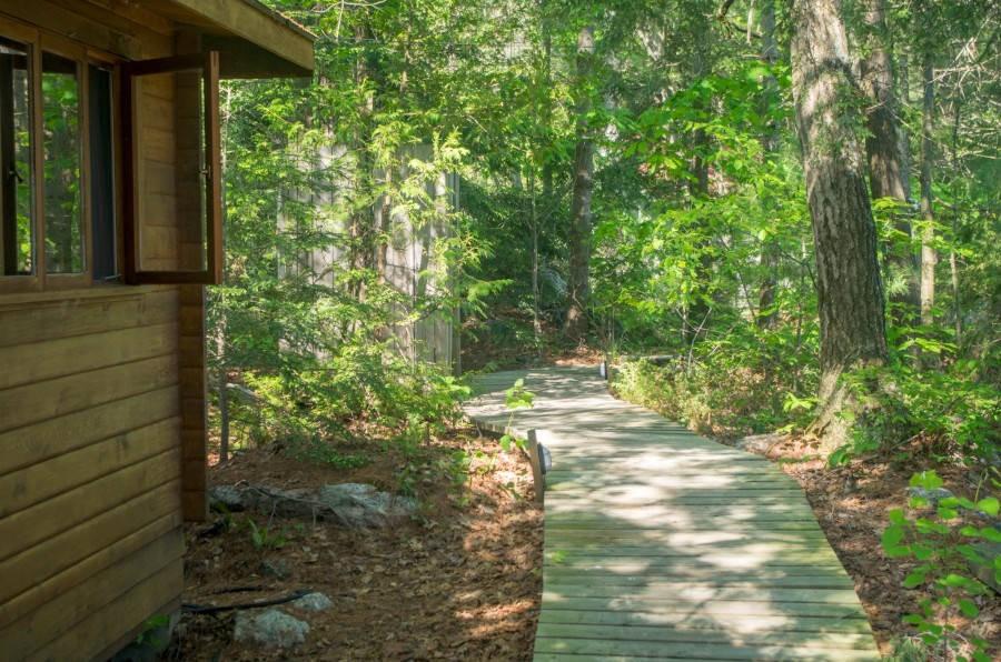 Boardwalk beside Cottage, Outdoor Shower on Left