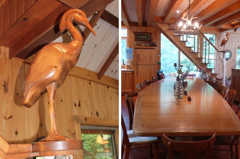 Carved Heron & Dining Area with Stairs