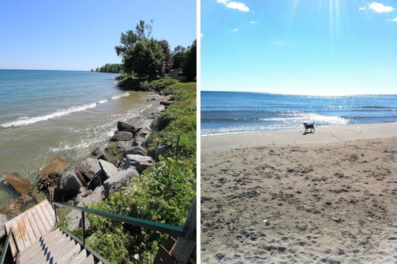 Waterfront in June & with Sandy Beach Exposed in Late August