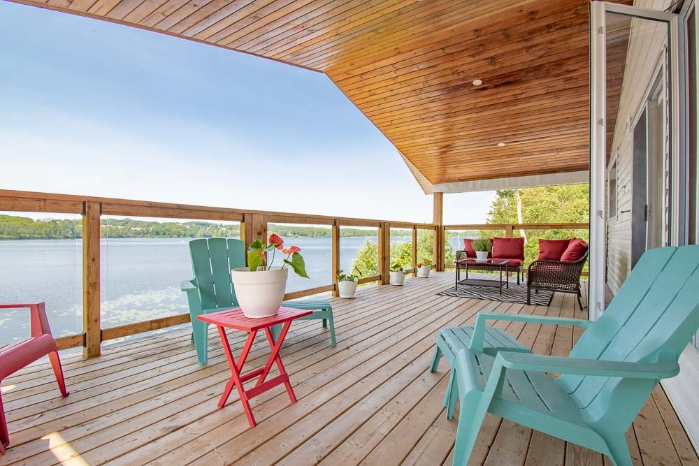 Covered Deck with Lake View
