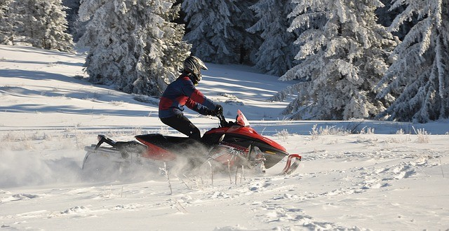 a man on a snowmobile in the woods