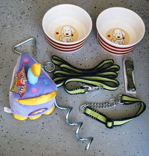 Pet bowls and leash