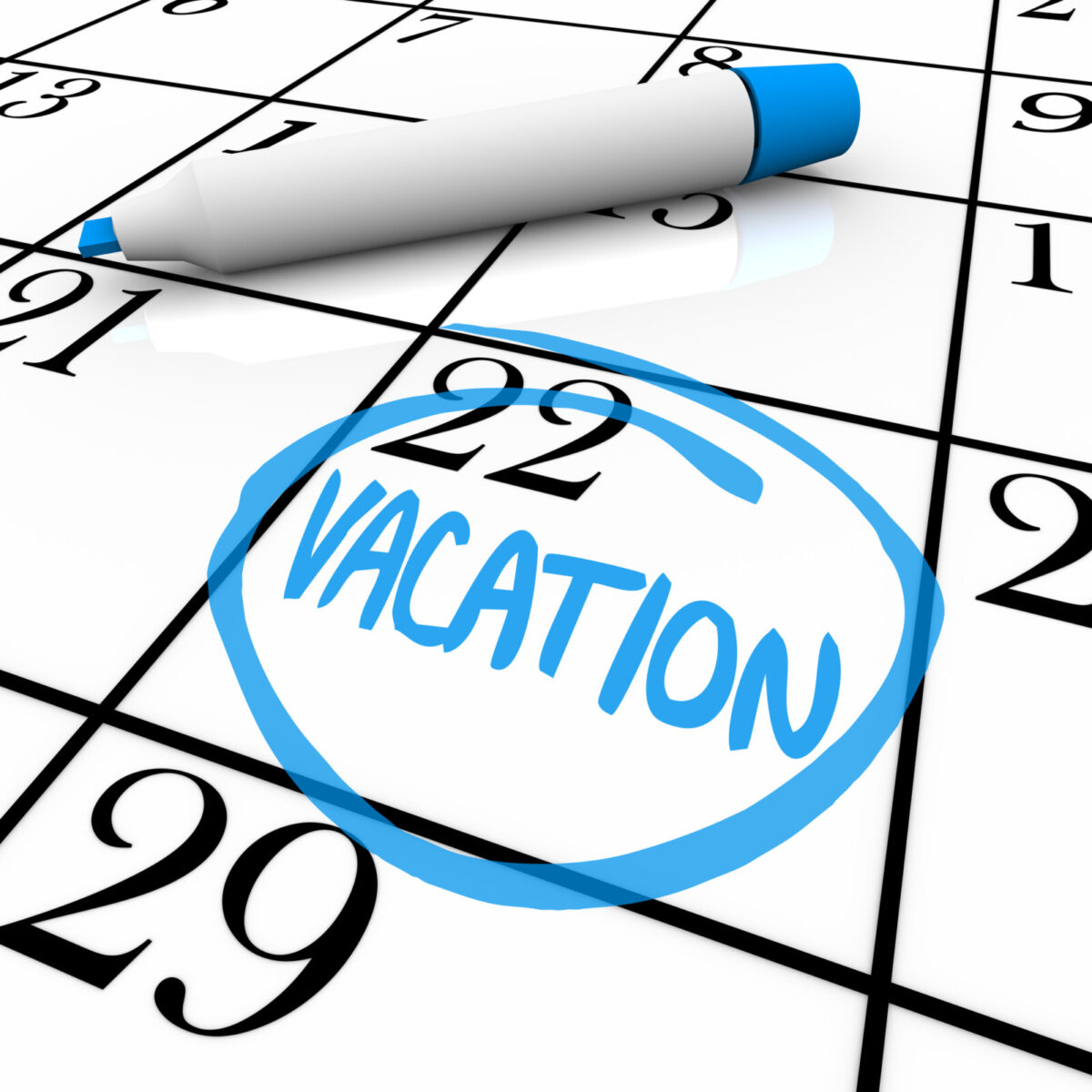 Vacation day on calendar