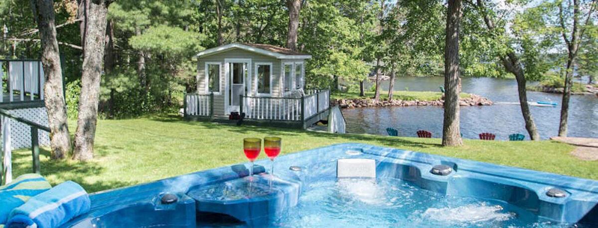 Hot tub by lake